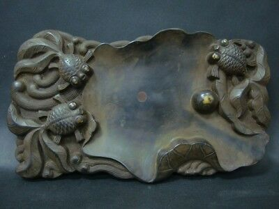 Very Fine Chinese Hand Carving Lotus GoldFishes Ink Stone InkSlab Marks