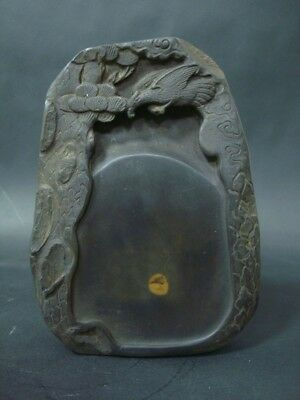 "Rare Fine Old Chinese Hand Carved InkStone Ink Slab Marked ""ZuoFengYiCheng"""
