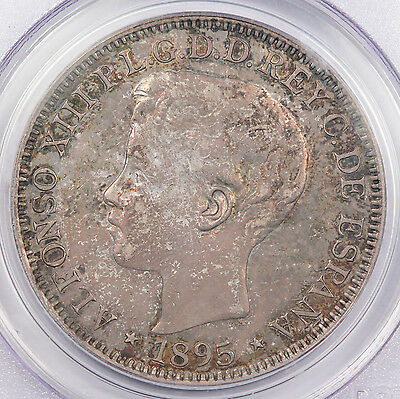 Puerto Rico 1895 PGV Silver 1 Peso Coin PCGS AU58 About Uncirculated Spanish