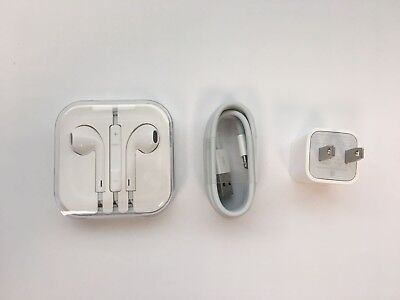 Apple OEM iPhone Headphones and Charger BUNDLE for iPhone 5, 5s, 5c, 6, 6s - NEW