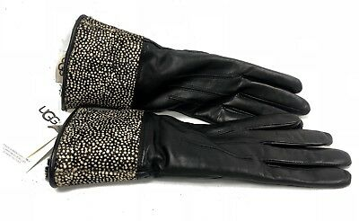 UGG Australia BLACK Micro Dot ANIMAL SKIN LEATHER TOUCH SCREEN SMART GLOVES