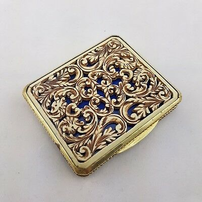 Vintage Compact Simulated Bone Pierced Carving Gilt Metal Case