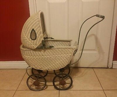 Antique 19thC Victorian Wicker Baby Buggy Stroller Pram Carriage Doll OLD