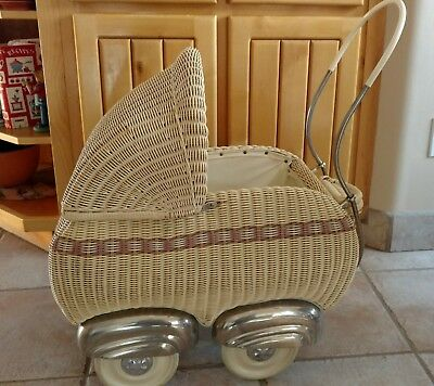 antique wicker German doll carriage and Schildkrot Turtle Mark doll