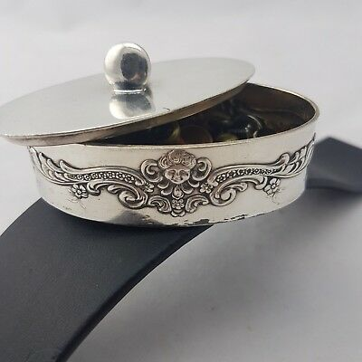Antique American Silver Plated Stud Box With Some Original Studs
