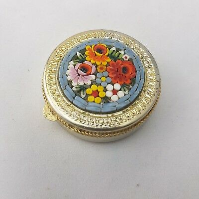 Vintage Micro Mosaic Compact Gilt Metal Case