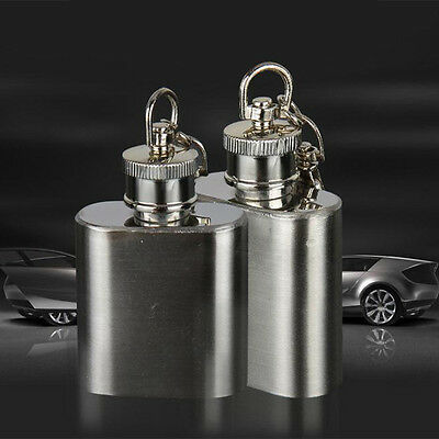 Portable 1OZ Stainless Steel Mini Pocket Liquor Hip Flask Key Ring Chain FlaskUS