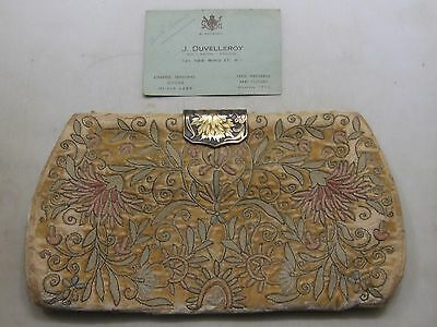 Antique J. Duvelleroy London Purse Clutch Hand Bag ~ As Is With Business Card