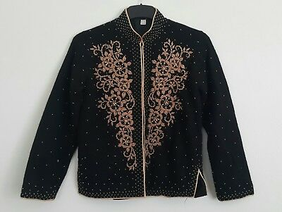 VINTAGE. Black Lambs Wool Cardigan. Gold Hand Beading.  Size: bust 36