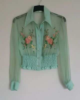 VINTAGE Retro.  Size 8. Mint Embroidered Organza Blouse
