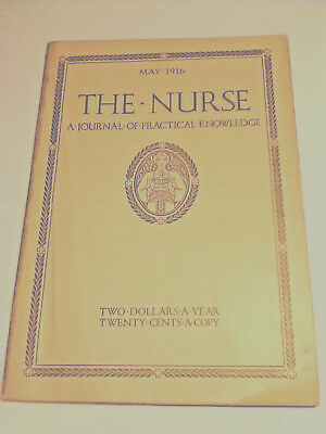 Antique May 1916 Nursing Journal WWI, Care of the Insane,Danger, Great Ads