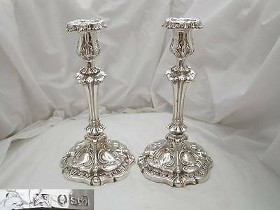 RARE PAIR of VICTORIAN HM STERLING SILVER CANDLESTICKS 1838