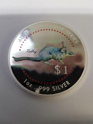 1998 $1 Australian Fauna Series 1 oz 999.  silver coloured coin - Bilby