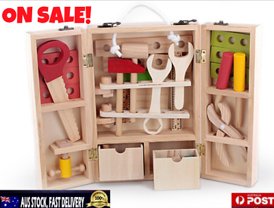 Kids Tool Box Pretend Wooden Set Play Educational Constructions Kit Toy DIY AU