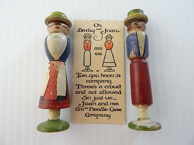 """RARE 1915 WOOD SEWING NEEDLE HOLDERS """"Joan & Darby"""""""