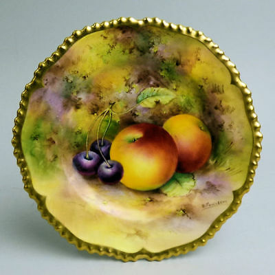 Antique Royal Worcester Hand Painted Porcelain Fruit Plate By E. Townsend 1925
