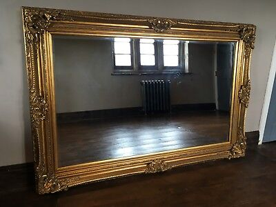 Antique Gold Ornate Large French Statement Vintage Overmantle Wall Mirror 5FT