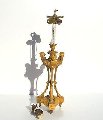 Gorgeous French Gilt Bronze Candelabra/Candlestick Ormolu Female Busts Lamp (A)
