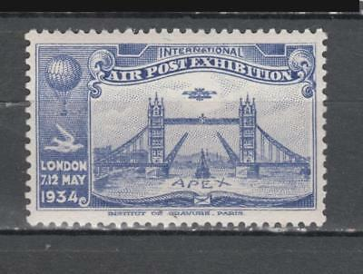 1934 London International Air Post Exhibition Poster Stamp Unmounted Mint Full G