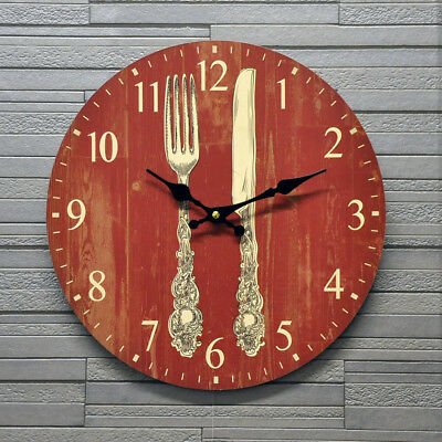 Kitchen Round Wall Clock Battery Red Knife & Fork Vintage Retro Style 34cm