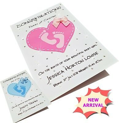 Personalised New Baby Card Girl Boy New Born Pink Blue Handmade Crystal Canvas