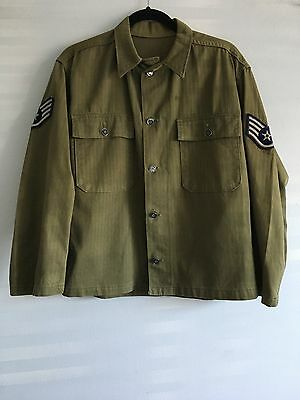 Original Us Army Wwii Ww2 Korean War Hbt Herringbone 13 Stars Shirt