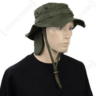 British Olive Drab Rip Stop Boonie Hat with Neck Flap - Army Bush Cap Sun Bucket