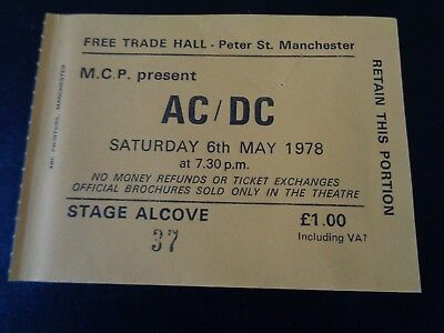 Ac/dc Concert Ticket Free Trade Hall Manchester Uk Sunday May 6Th 1978