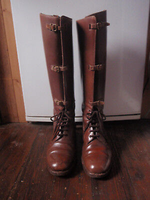 Ww1 Officers, Long Field Boots, Chestnut Brown Leather, Size 8,  V.g Condition