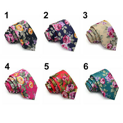Fashion Men Skinny Slim Floral Rose Flower Print Neck Tie Cotton Narrow Necktie