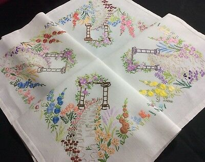 Stunning Vintage Linen Hand Embroidered Tablecloth ~ Floral Arch/country Garden