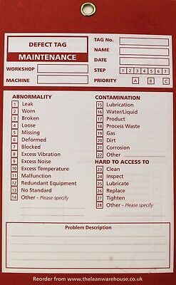 TPM Autonomous Maintenance - Maintenance Defect Tag - Green