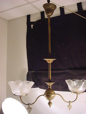 C.1890 BRASS VICTORIAN 2 ARM GAS CHANDELIER w/OLD ETCHED SHADES~WIRED~UNRESTORED