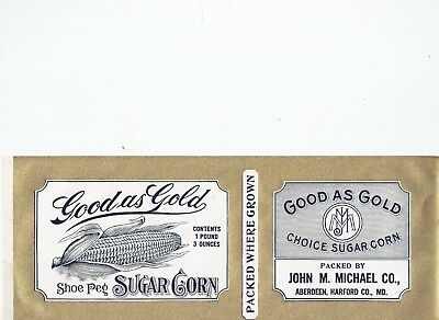 6 CANNING LABELS - Good as Gold Sugar Corn Aberdeen Md. John M. Michael Co. nice