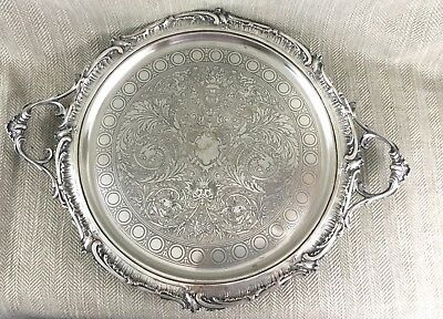 Large Antique Silver Plate Tray French Rococo Louis XVI Butlers Serving