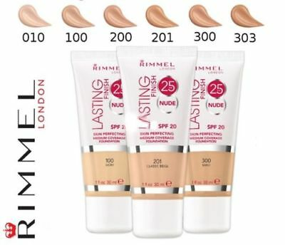 RIMMEL Lasting Finish 25 Hour Foundation NUDE SPF20 30 ml CHOOSE SHADE