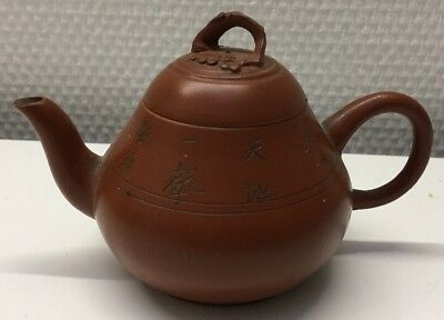Antique Chinese Yixing Zisha Pottery Teapot Calligraphy Marked