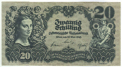 Austrian Liberation 20$ (Schilling) Note of 1945 WWII