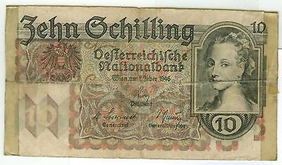 Austria First Currency Reform 10$ (Schilling) WWII 1946