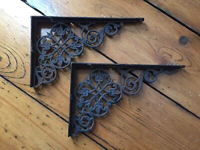2 Architectural Victorian Cast Iron Shelf Brackets Wall Corner Brackets