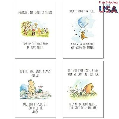 Winnie the Pooh Classic Art Prints - Set of Four Wall Art Decor Photos