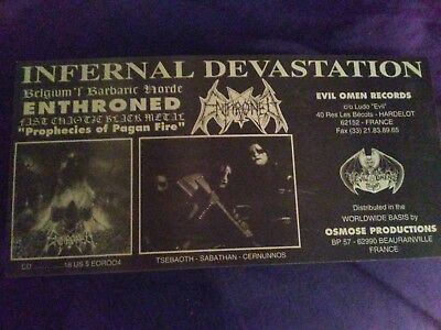 ENTHRONED prophecies of pagan fire 90's PROMO FLYER belgium EVIL OMEN RECORDS