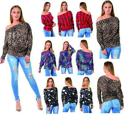 LADIES ANIMAL LEOPARD PRINT BODYSUIT LONG SLEEVE BARDOT OFF SHOULDER POLO 8 18