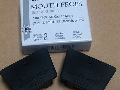DENTAL MOUTH PROP BLACK RUBBER ADULT SIZE LATEX FREE TWO IN A BOX TEN bOXES