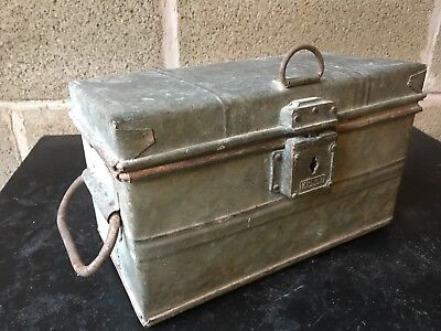 ⭐️ Vintage Antique Galvanised Ammunition Tin Crate Trunk Chest Industrial
