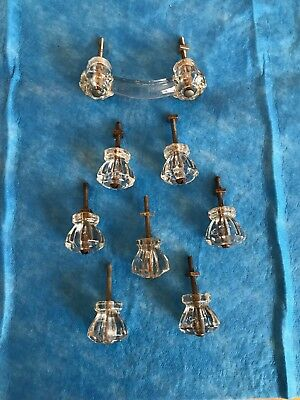 Antique Vtg Lot of 7 Clear Glass Ten  Sided Cabinet Knob Drawer Pulls + Handle