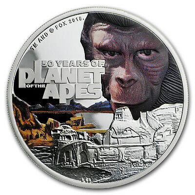 2018 Tuvalu 1 oz Silver Proof 50th Anniv Planet of the Apes - SKU#161786