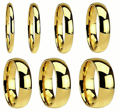 Men/Women 316L Stainless Steel Gold IP Polished Comfort Fit Wedding Band Ring