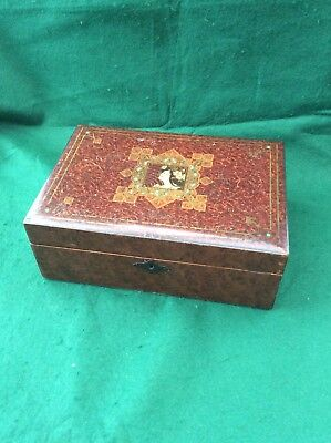 Antique Art Nouveau painted writing box with ink well