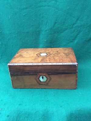 Antique jewellery box with mother of pearl and stringing decoration